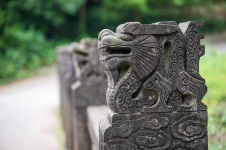 Lion stone statues on a bridge in Jiezi, Sichuan province, China