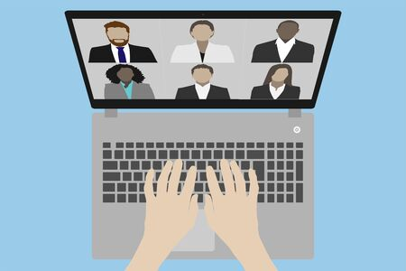 Video conference on a laptop vector illustration top view with hands on the keyboard - Work from home concept during covid-19 quarantine crisis Stock fotó
