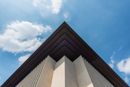 Chengdu, Sichuan province, China - June 24, 2020: Sichuan library building facade against blue sky near Tianfu square in the center of the city. Editorial