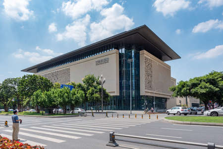 Chengdu, Sichuan province, China - June 24, 2020: Sichuan Grand Theatre building against blue sky near Tianfu square in the center of the city
