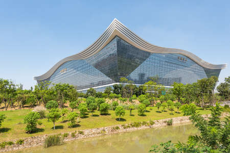 Chengdu, Sichuan province, China - Aug 26, 2020 : New Century Global Center building view from Guixi park on a sunny day with clear blue sky