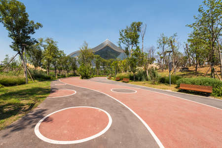 Chengdu, Sichuan province, China - Aug 26, 2020 : Chengdu Tianfu greenway track with New Century Global Center in the background