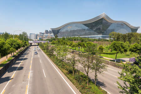 Chengdu, Sichuan province, China - Aug 26, 2020 : New Century Global Center building and road on a sunny day with clear blue sky