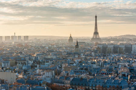 Paris skyline aerial view with the eiffel tower, France