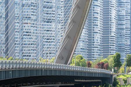 Chengdu, Sichuan province, China - July 2, 2020: HongXingLu KuaJinJiangQiao bridge also called butterfly bridge against skyscrapers in daylight 新闻类图片
