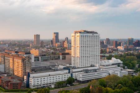 Rotterdam, Netherlands - May 7, 2019 : Erasmus University Medical Center university aerial view at sunset