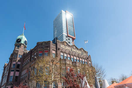 Rotterdam, Netherlands - April 18, 2019 : Hotel New York building against clear blue sky in Rotterdam
