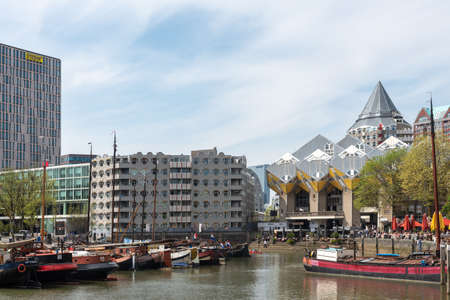 Rotterdam, South Holland, Netherlands - April 23, 2019 : Oudehaven ancient harbour in Blaak district on a sunny day 新闻类图片