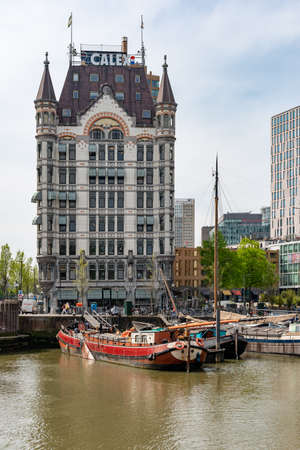 Rotterdam, South Holland, Netherlands - April 23, 2019 : Witte Huis multistorey building in Oudehaven ancient harbour