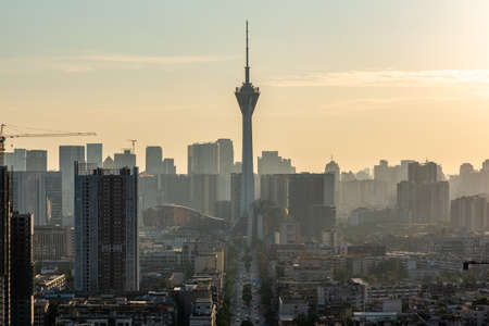 Chengdu, Sichuan province, China - June 18, 2020 : 339 TV tower and city skyline aerial view in late afternoon