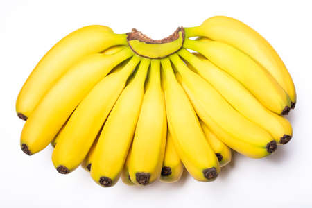 A bunch of bananas close-up view on white background