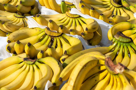 Bunches of bananas on a market stall in Chengdu, Sichuan province, China Banque d'images