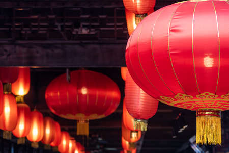 Red chinese lantern hanging on a ceiling for the chinese new year in Chengdu, Sichuan province, China