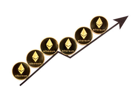 Ethereum coins on an arrow going up on a white background