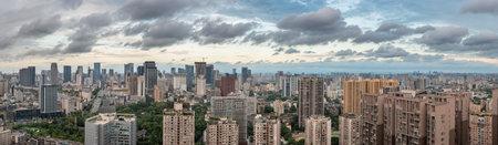 Chengdu, Sichuan province, China - June 11, 2019 : Chengdu city downtown skyline panorama aerial view