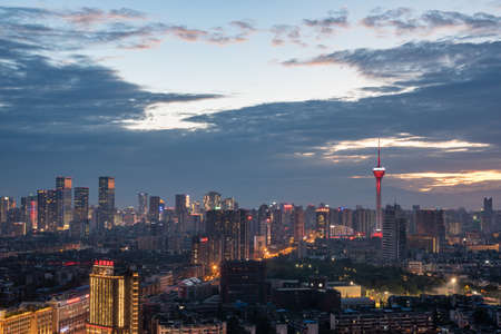 Chengdu, Sichuan province, China - Aug 6, 2019 - Chengdu city skyline aerial view at dusk with 339 TV tower