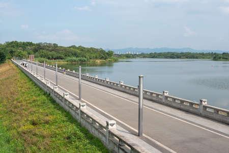 Pedestrian road by a lake in a QingLongHu park in Chengdu, Sichuan province, China
