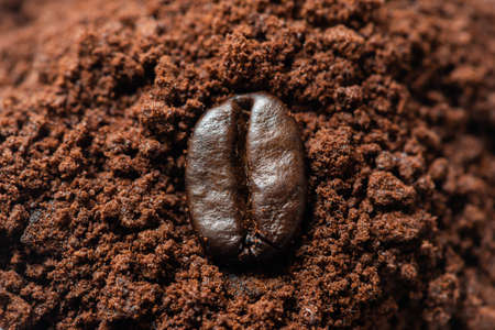 Coffee bean on ground coffee heap close up view Banque d'images