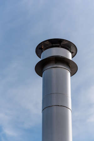 steel chimney against blue sky low angle view in Rotterdam, Netherlands Banque d'images