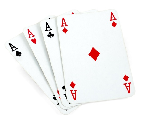 4 of a kind: Four aces playing cards isolated on white