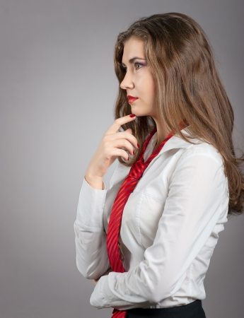 Sexy Woman with Red Tie wearing a white Shirt Stock Photo - 17385990