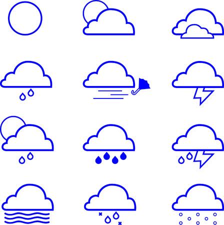 12 set Weather Icons Ilustração
