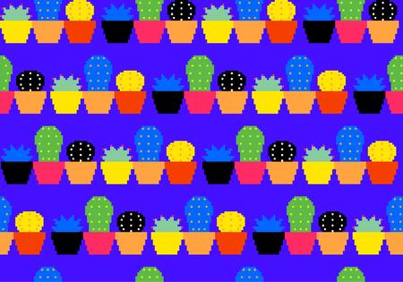 row houses: Pixel SucculentCactus pattern