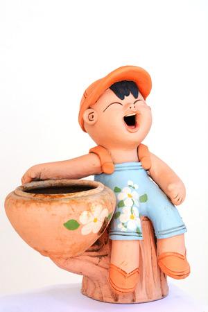 Smiling boy statue photo