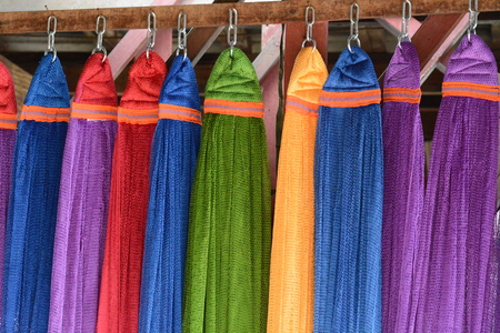 strong toughness: Colourful pieces of nylon hammock as background