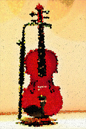 Violin on a vintage wallpaper photo