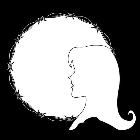 violation: Violation of woman rights Illustration