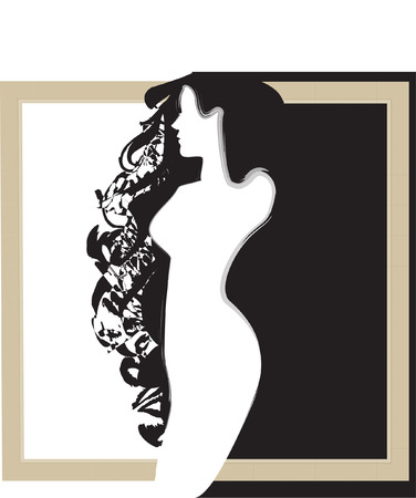 conveniently: black and white silhouette of the girl Illustration