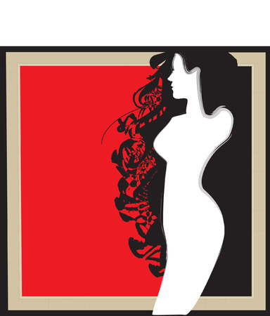 conveniently: black and red silhouette of the girl