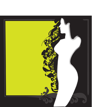 conveniently: black and green silhouette of the girl Illustration