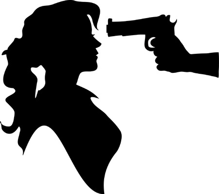Silhouette of woman with gun pointed at his head