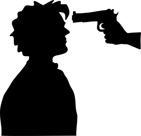 Silhouette of man with gun pointed at his head