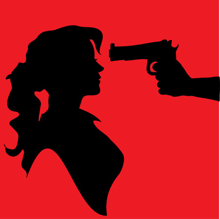 Silhouette of woman with gun pointed at his head Vector
