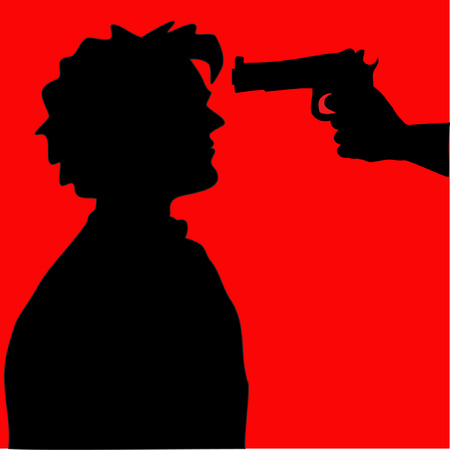 Silhouette of man with gun pointed at his head Vector