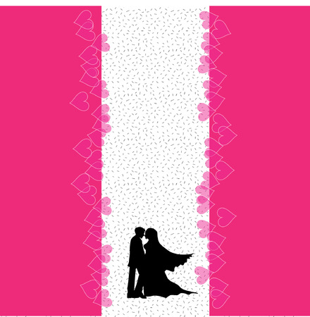 A bride and groom on their wedding day about to kiss in silhouette Vector