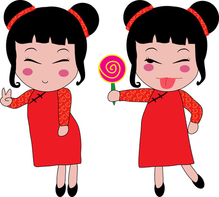 chinese dress: illustration of a Chinese girl, Chinese New Year Illustration