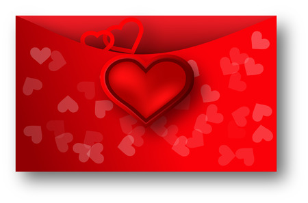 Envelope with red heart for valentine day on white background Vector