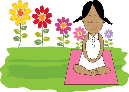 Beautiful woman doing Yoga Meditation Ilustração