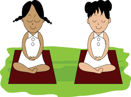 Beautiful woman doing Yoga Meditation Vector
