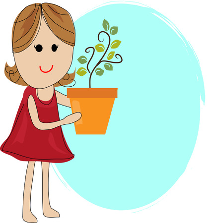 small plant: Girl Holding a Small Plant Illustration