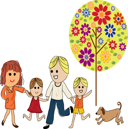 Happy family with two children and a puppy Vector