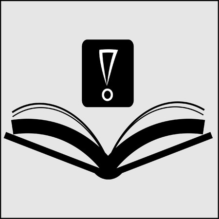 school illustration: Book with question mark sign icon vector illustration. Flat design style