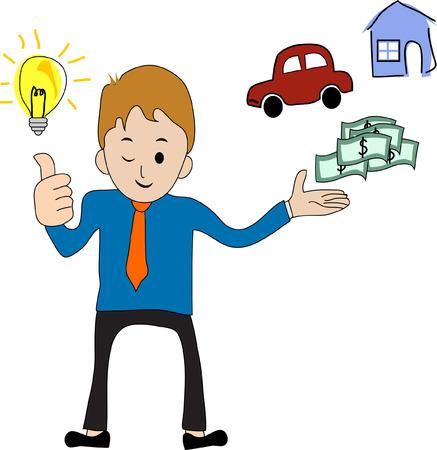 persona feliz: El hombre de negocios consigue una idea brillante Vectores