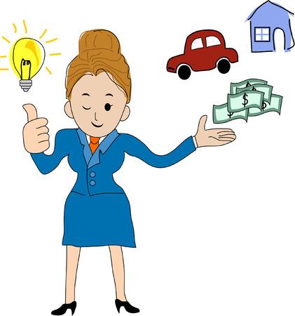 bright idea: Businesswoman gets a bright idea Illustration