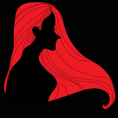 Fashion Woman with Long red Hair.