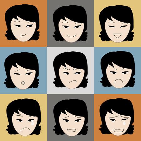 smart woman: Girl face hand drawing sketch vector set on color background Illustration